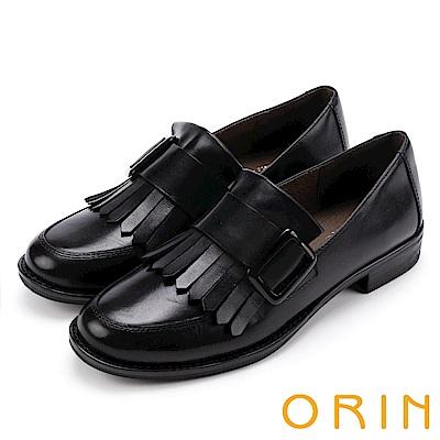 ORIN 英倫復古風 俏皮流蘇真皮樂福鞋-黑色