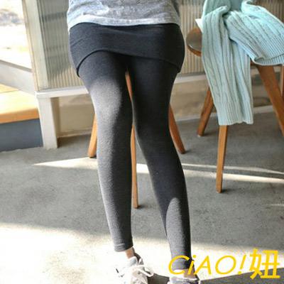 素面內抓絨假兩件內搭裙褲 (共二色)-CIAO妞