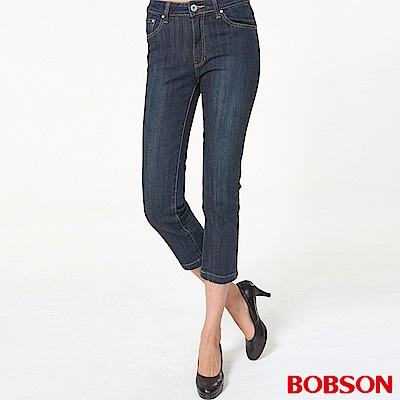 BOBSON 女款中腰貼鑽七分牛仔褲