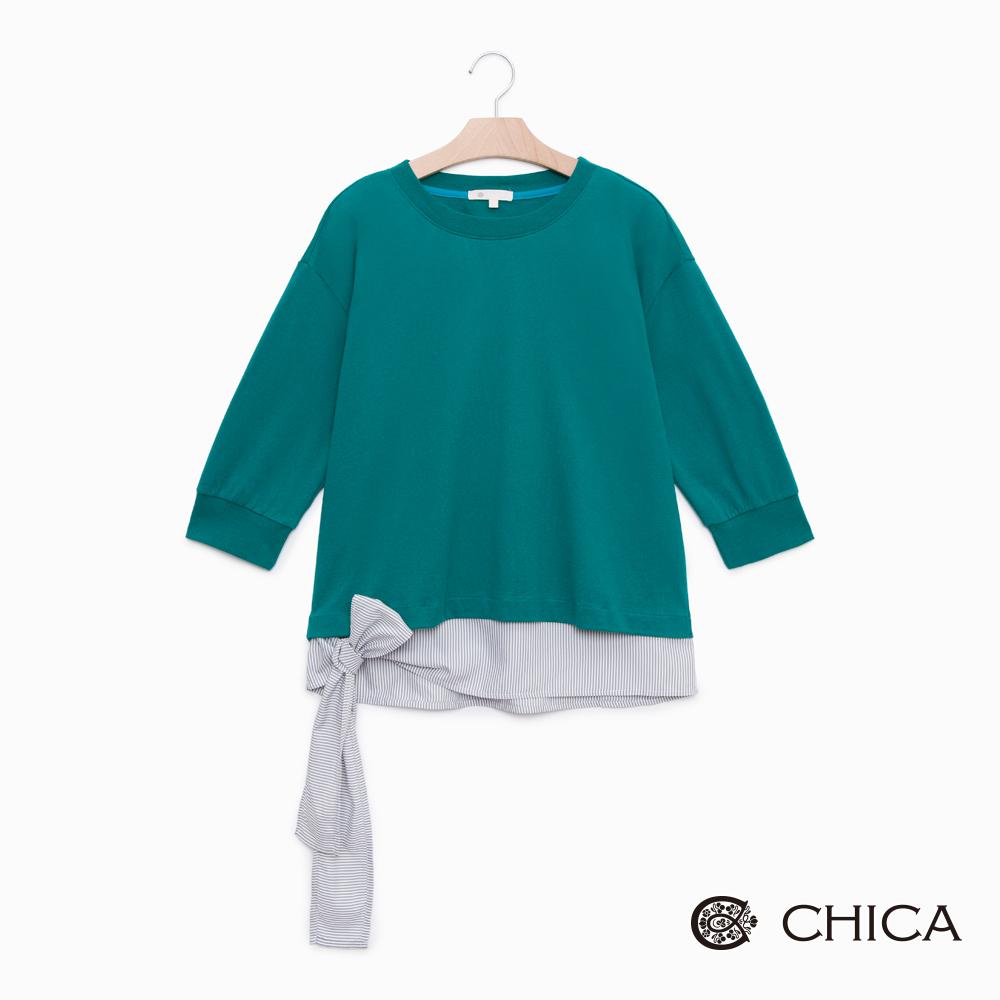 CHICA 甜美簡約側綁蝴蝶結兩件式上衣(3色)