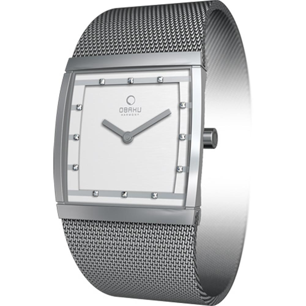 OBAKU 視覺驚艷方型時尚腕錶-銀/27mm