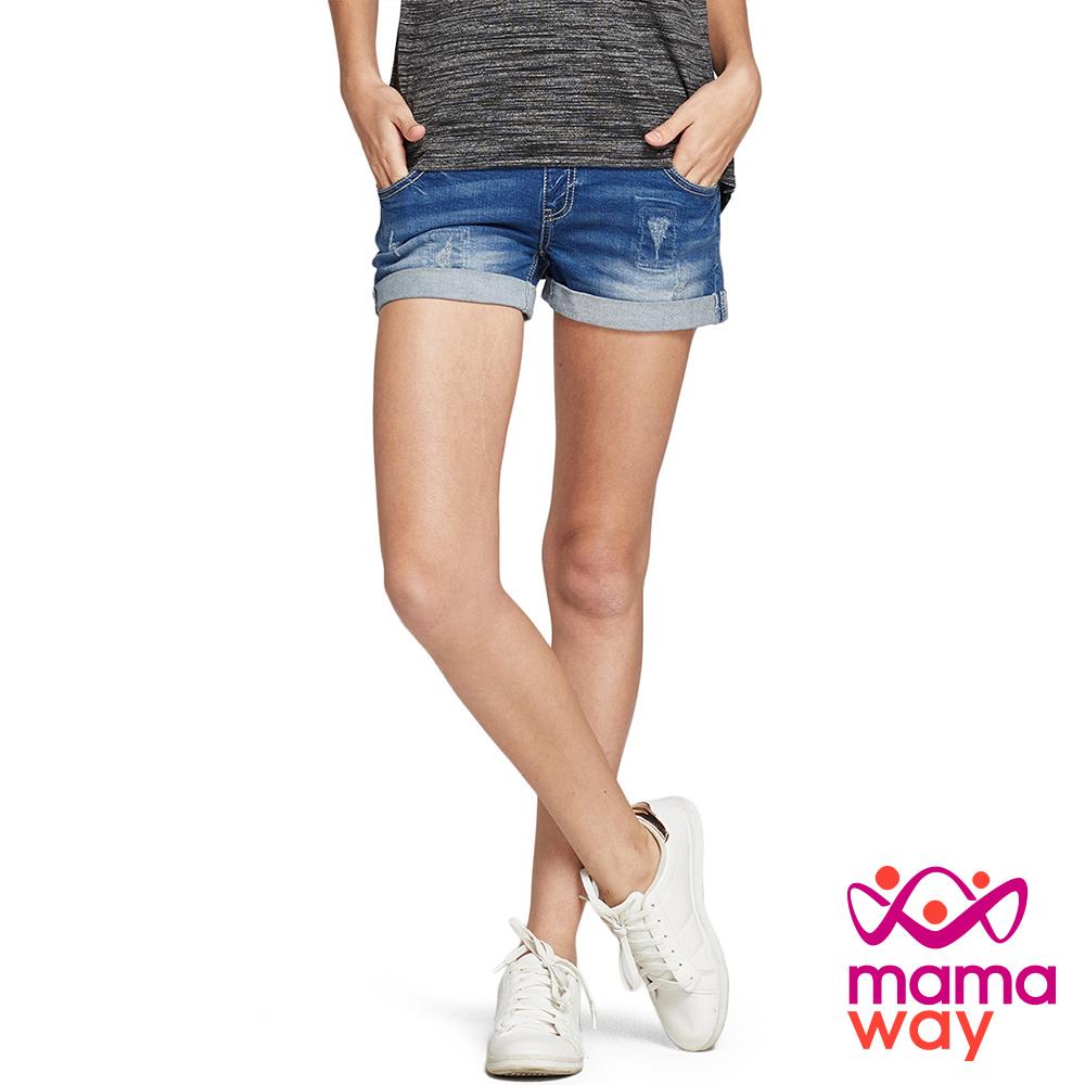 Mamaway 孕期 洗色刷破牛仔短褲(共二色)