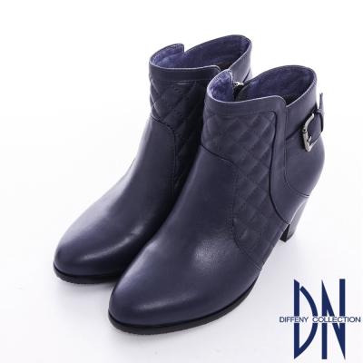 DN 氣質時尚 華麗美型菱格紋單釦粗跟裸靴 藍