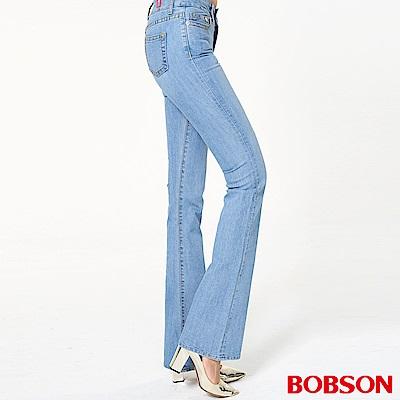 BOBSON 女款低腰伸縮淺藍中喇叭褲