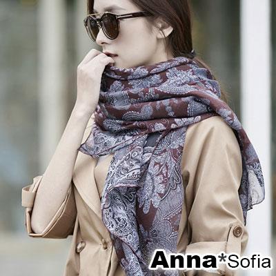 AnnaSofia-古典細繁花紋-拷克邊韓國棉圍巾披肩-深酒紅系