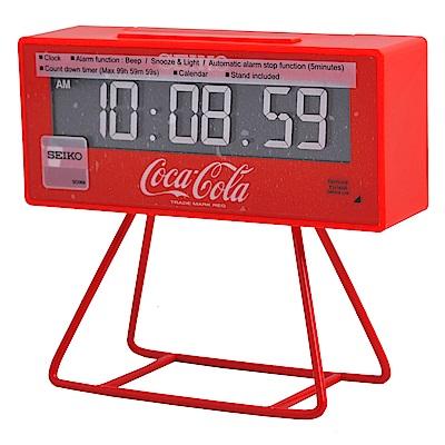 SEIKO精工 可口可樂聯名款 限量計時小桌鐘-紅