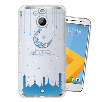 WT HTC 10 evo 5.5吋 奧地利水晶彩繪空壓手機殼(月彎星辰)
