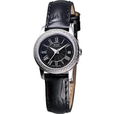 MIDO Baroncelli III Lady 奢華真鑽機械腕錶-黑/25mm