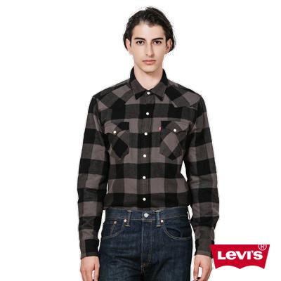 Levis-男款灰黑格紋翻領長袖襯衫