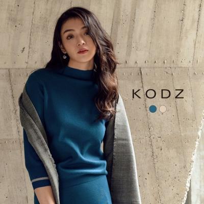 東京著衣-KODZ 歐美小立領袖織條設計針織上衣-S.M.L(共二色)