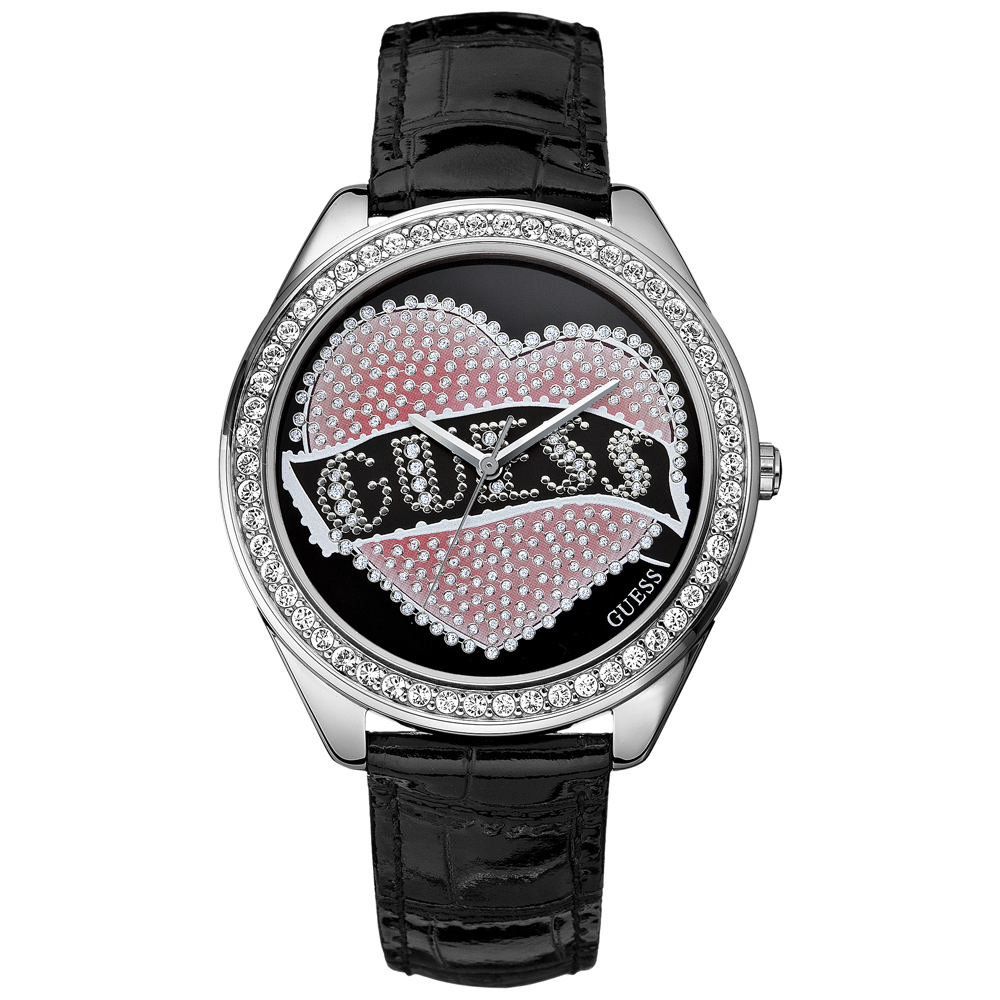 【GUESS】刺青客愛之甜點時尚晶鑽腕錶(黑)