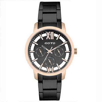 GOTO LINK系列裸空三眼精品時尚手錶-IP玫x黑/37mm