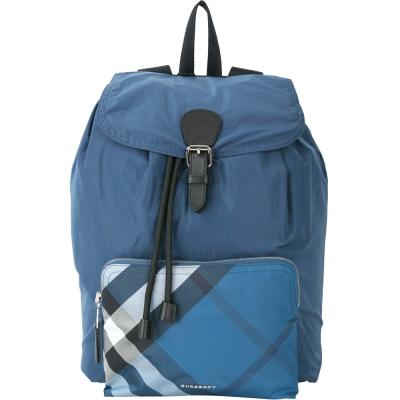BURBERRY The Rucksack 格紋口袋尼龍抽繩後背包(藍色)
