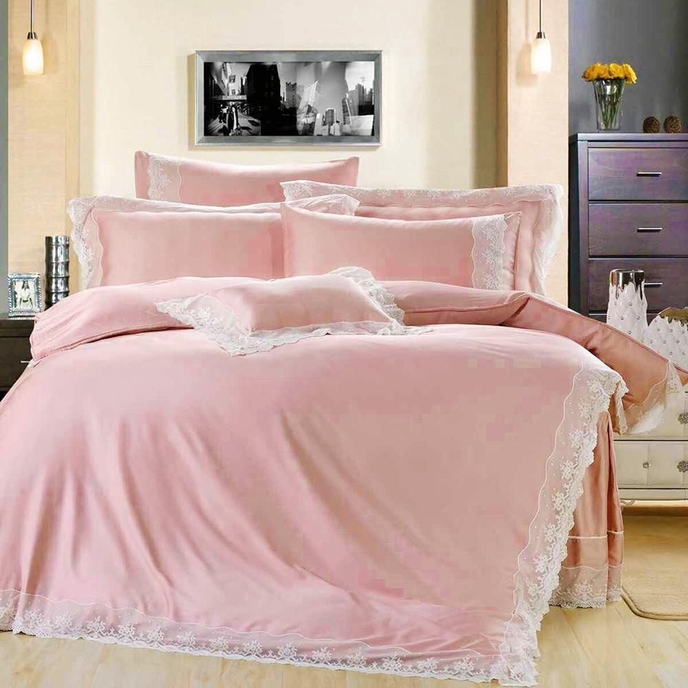 鴻宇HongYew 天絲典雅風-珊瑚粉 雙人特大七件式兩用被床罩組