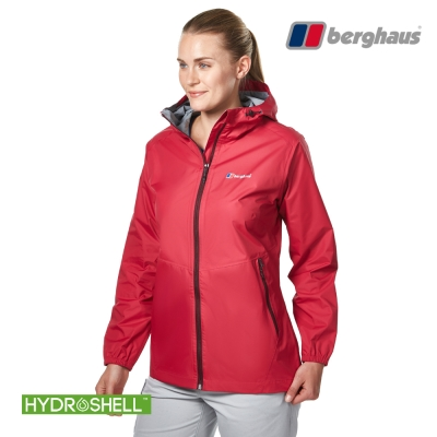 【Berghaus貝豪斯】女款HS輕量防水透氣連帽外套H22FS6櫻桃紅