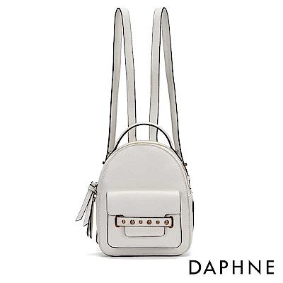 達芙妮DAPHNE-撞色油邊鉚釘雙肩後背包-白