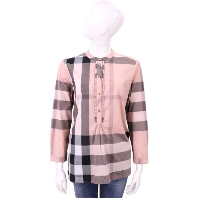 BURBERRY 古典粉格紋棉質長袖上衣