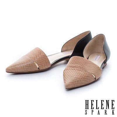 HELENE-SPARK-壓紋牛皮側空造型尖頭平底