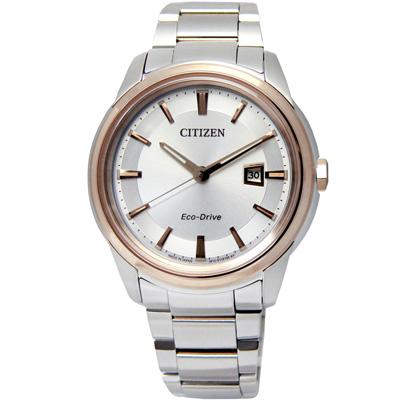 CITIZEN 都會品味簡約日期光動能手錶(AW1124-58A)-銀x玫瑰金框/42mm