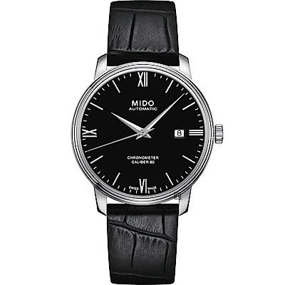 MIDO美度 永恆系列80小時天文台認證矽游絲機械錶-黑x銀/40mm
