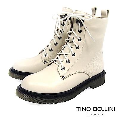 Tino Bellini中性搖滾柔軟舒足綁帶軍靴_ 米白