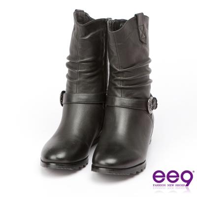 ee9 經典手工~2WAY都會優雅金屬扣環繫帶百搭內增高中筒靴-黑色