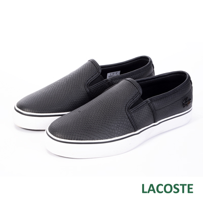 LACOSTE-女用真皮壓紋休閒鞋-黑色
