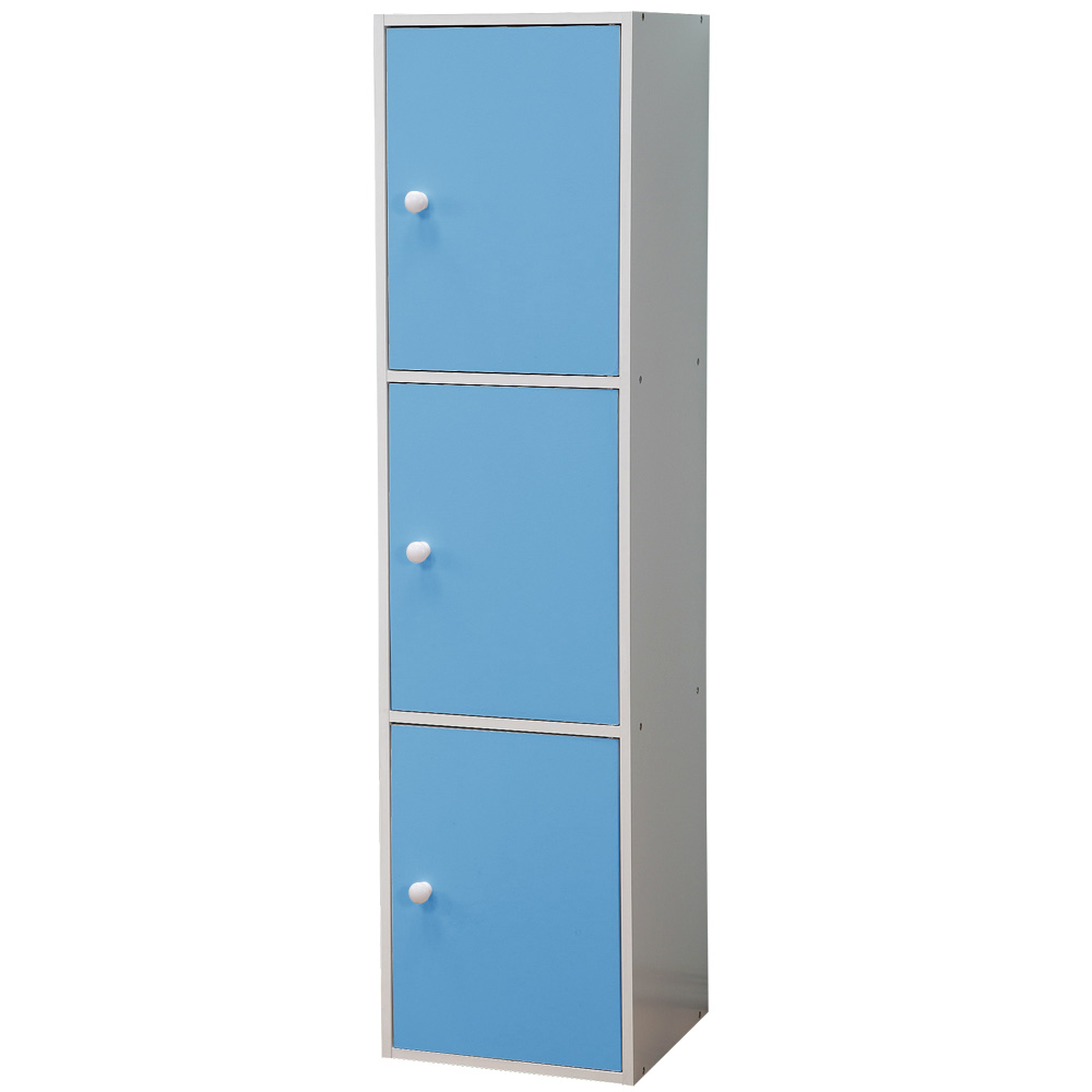 《Homelike》粉彩創意三門置物櫃(三色可選)