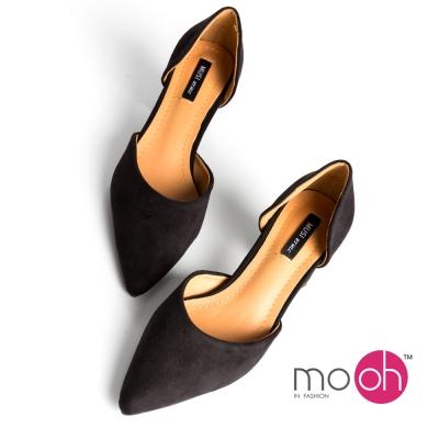 mo-oh-素面尖頭心型鞋跟麂皮絨面高跟鞋-黑