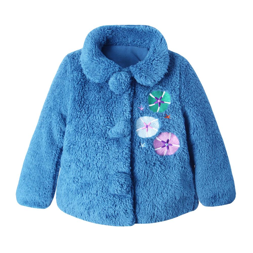 baby童衣 女童 保暖外套 毛領厚棉寶藍色大衣50426