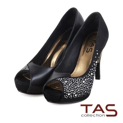 TAS-異材質華麗水鑽交叉拼接魚口高跟鞋-宴會黑