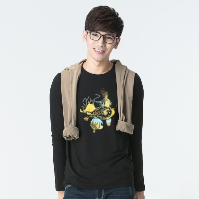 【SNOWFOX 雪狐】新銳插畫家劉經瑋聯名圖T恤男款長袖ATL-81660黑