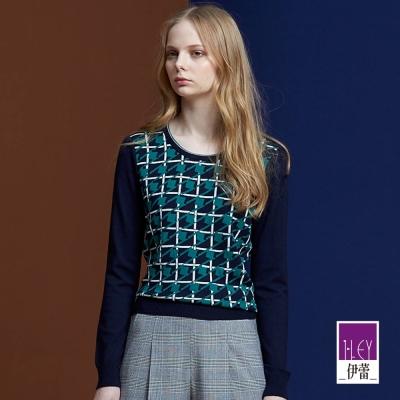 ILEY伊蕾-千鳥格紋率性針織衫-黑-藍