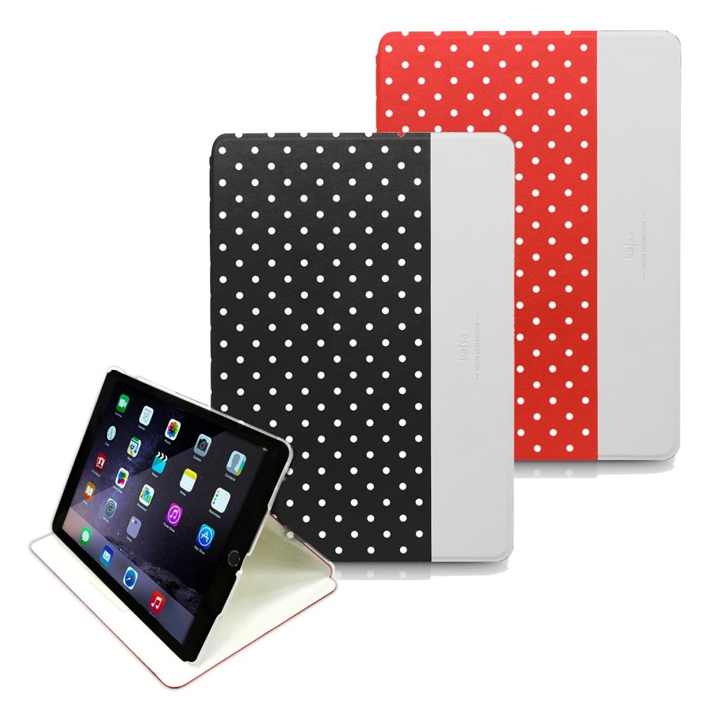 Kajsa iPad Air 2 夜光點點站立皮套-Neon Polka Dot