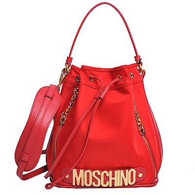 Moschino 品牌字母金色OGO尼龍水桶單肩/斜背包(紅)