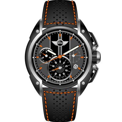 MINI Swiss Watches  極速時尚腕錶-黑x灰/皮帶/45mm