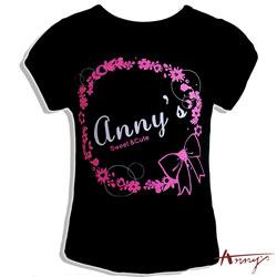 Annys安妮公主浪漫花圈短袖上衣*6338黑