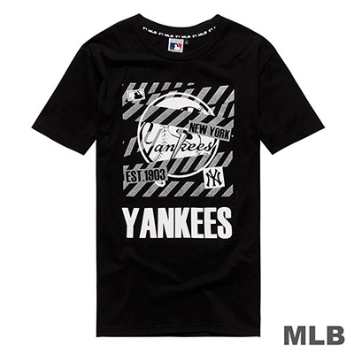 MLB-紐約洋基隊大圖燙銀印花短T-黑 (男)
