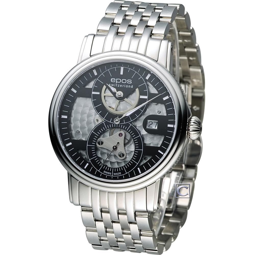 epos 情感系列三針一線限量機械腕錶-黑/41mm