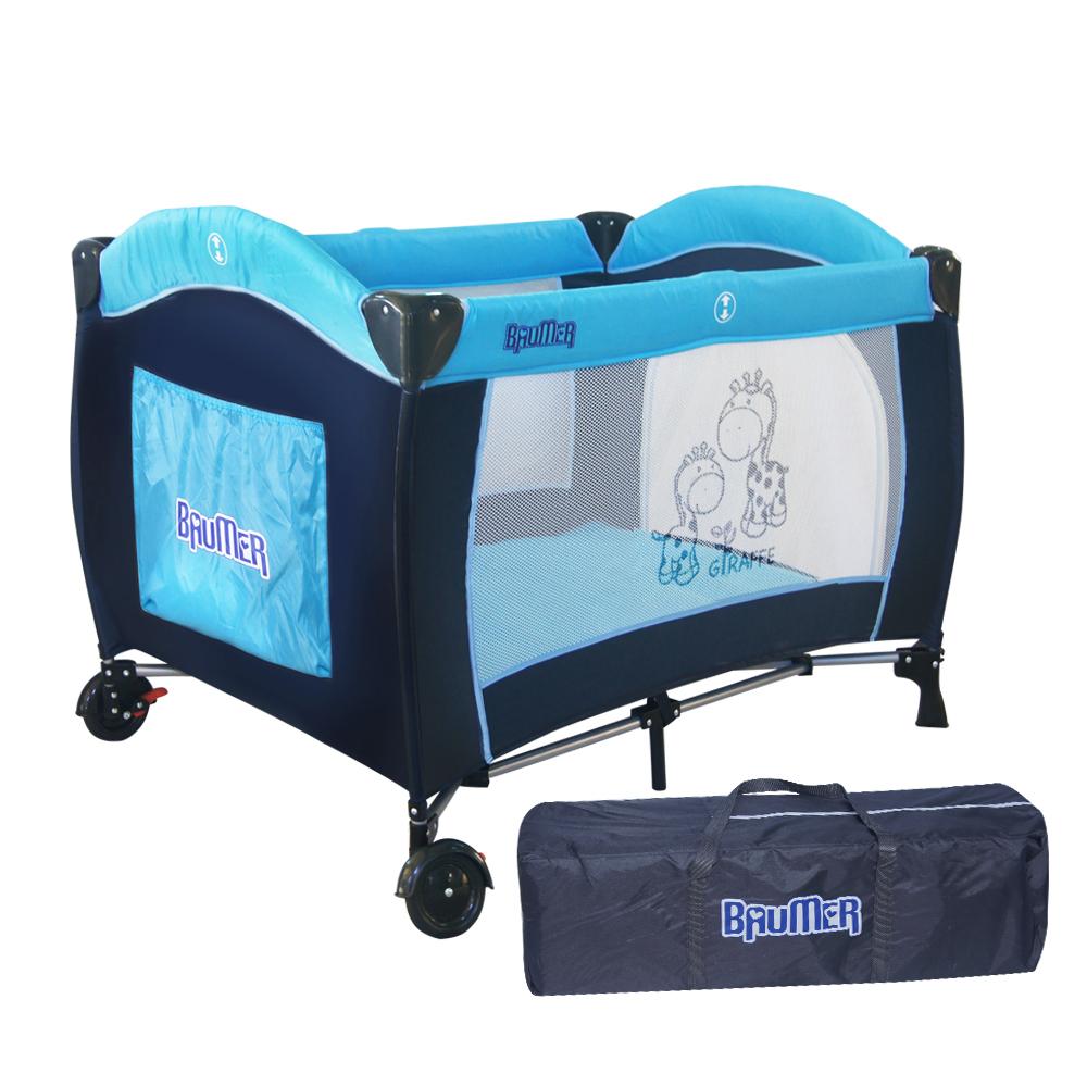 寶盟BAUMER 親子鹿遊戲床(水藍) 加雙層架及尿布台