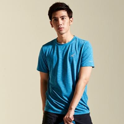 【AIRWALK】麻花設計吸排圓領T恤-藍色