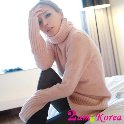 【2am. Korea】Baby感粉嫩色調高領毛衣 (共二色)