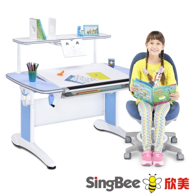 SingBee欣美 皇家全能桌+上層書架+132雙背椅(素面)-122x77x75cm