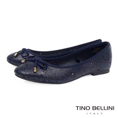 Tino Bellini 典雅精雕鏤空娃娃鞋_藍