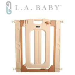 美國 L.A. Baby 雙向自動上鎖安全圍欄/門欄/圍欄/柵欄(贈兩片延伸件)米黃色
