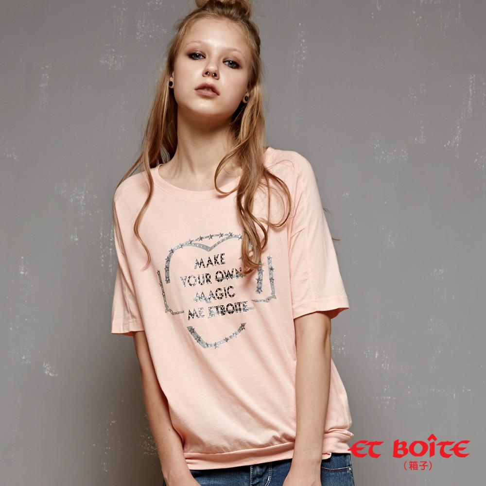 ETBOITE 箱子 BLUE WAY 愛心文字燙鑽短袖T恤-淺粉