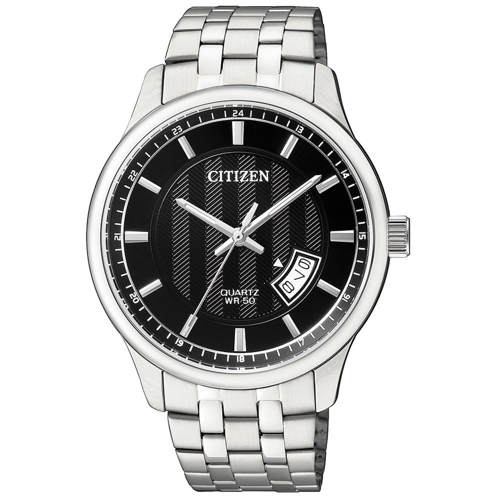 CITIZEN星辰 黑色錶盤石英男仕手錶(BI1050-81E)-黑/40mm