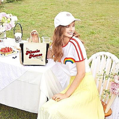 花園米奇米妮系列-花漾派對帆布兩用斜背包-幸福白