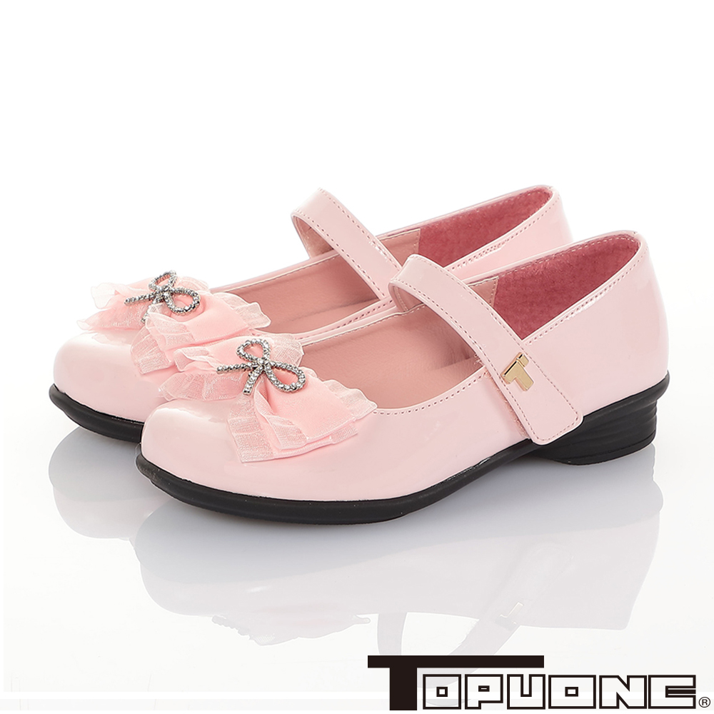 TOPUONE童鞋 傳統手工鞋廠蝴蝶結減壓公主皮鞋-粉