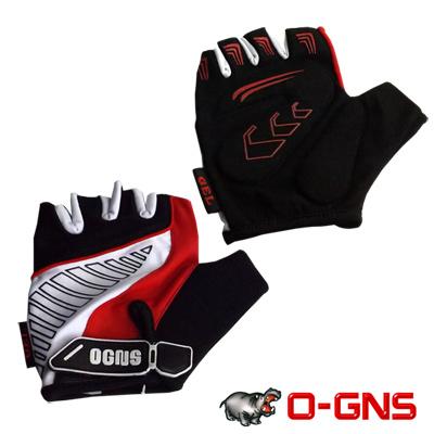 OGNS 半指式矽膠減震手套 黑紅